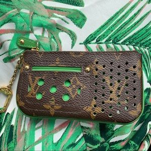 Louis Vuitton monogram green perforated coin purse